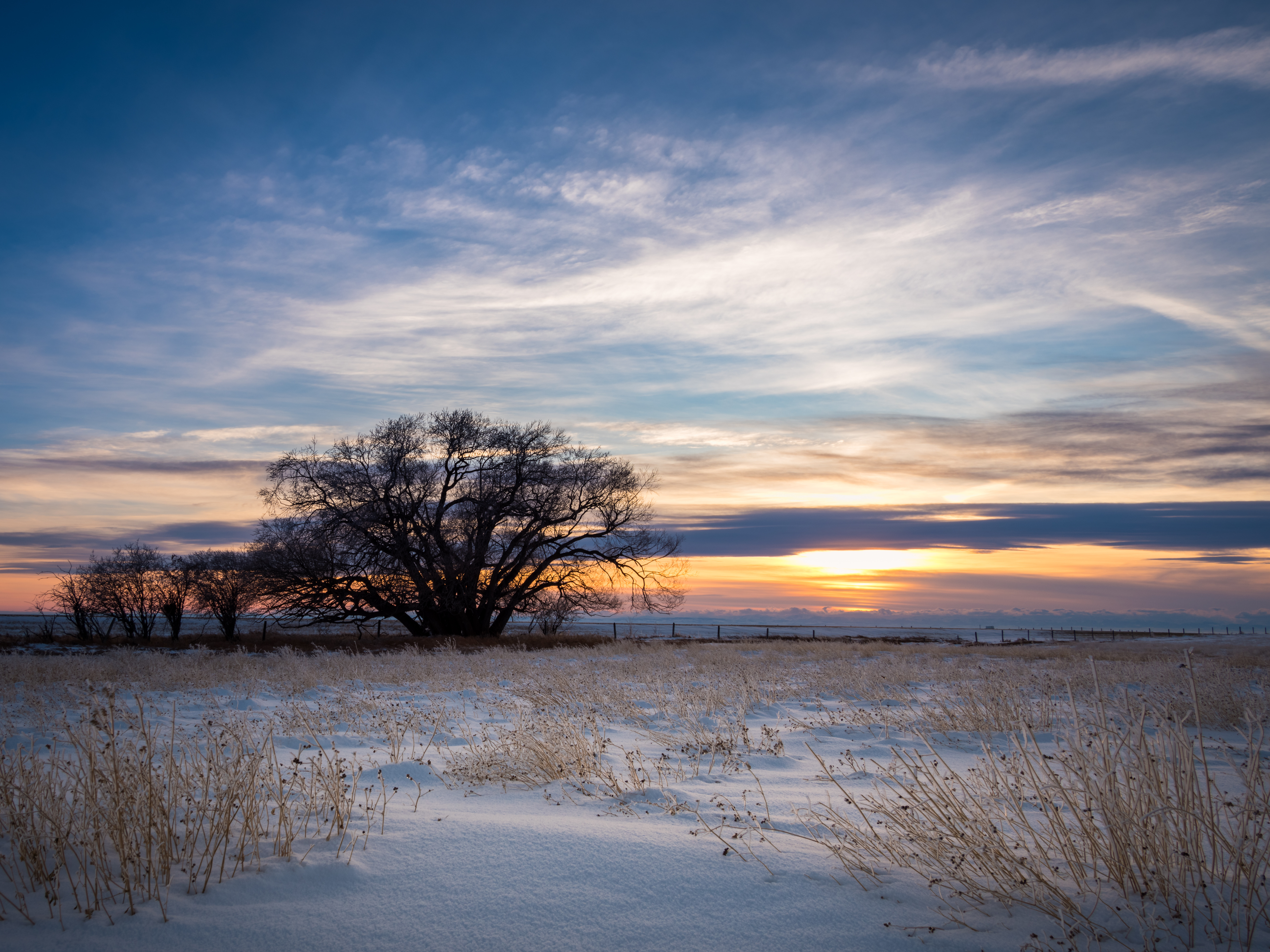 The sun sets over a snowy field