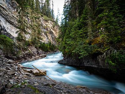 The river running through Johnston Canyon, near Banff, Alberta, Canada