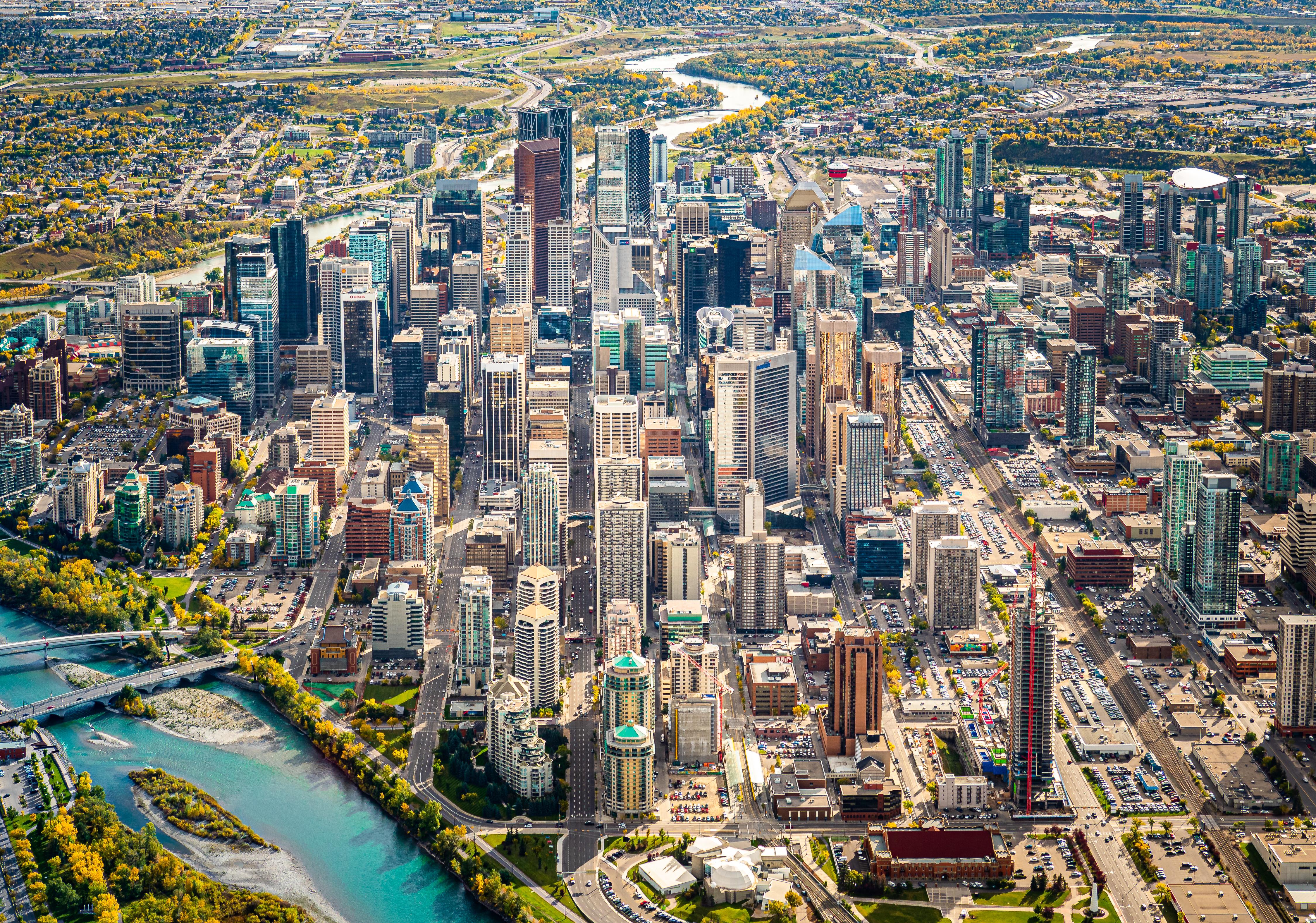 Looking down 6th Ave, Calgary, Alberta, Canada