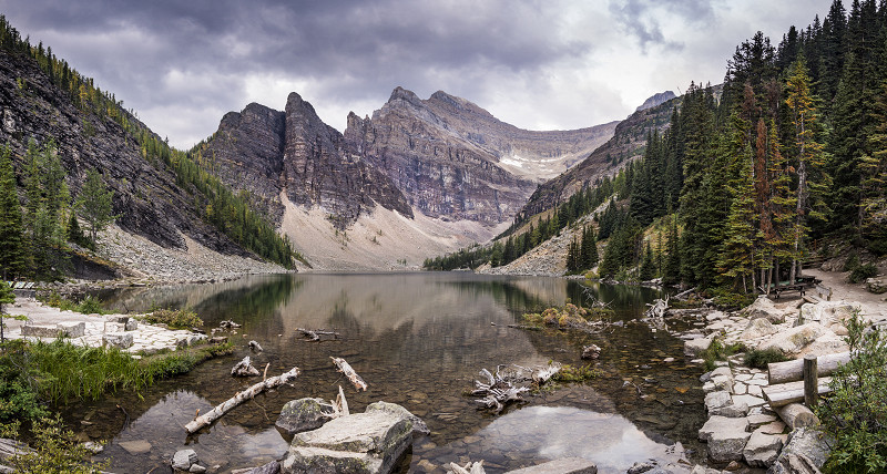 A panoramic view from the Lake Agnes Tea House outside Banff, Alberta, Canada