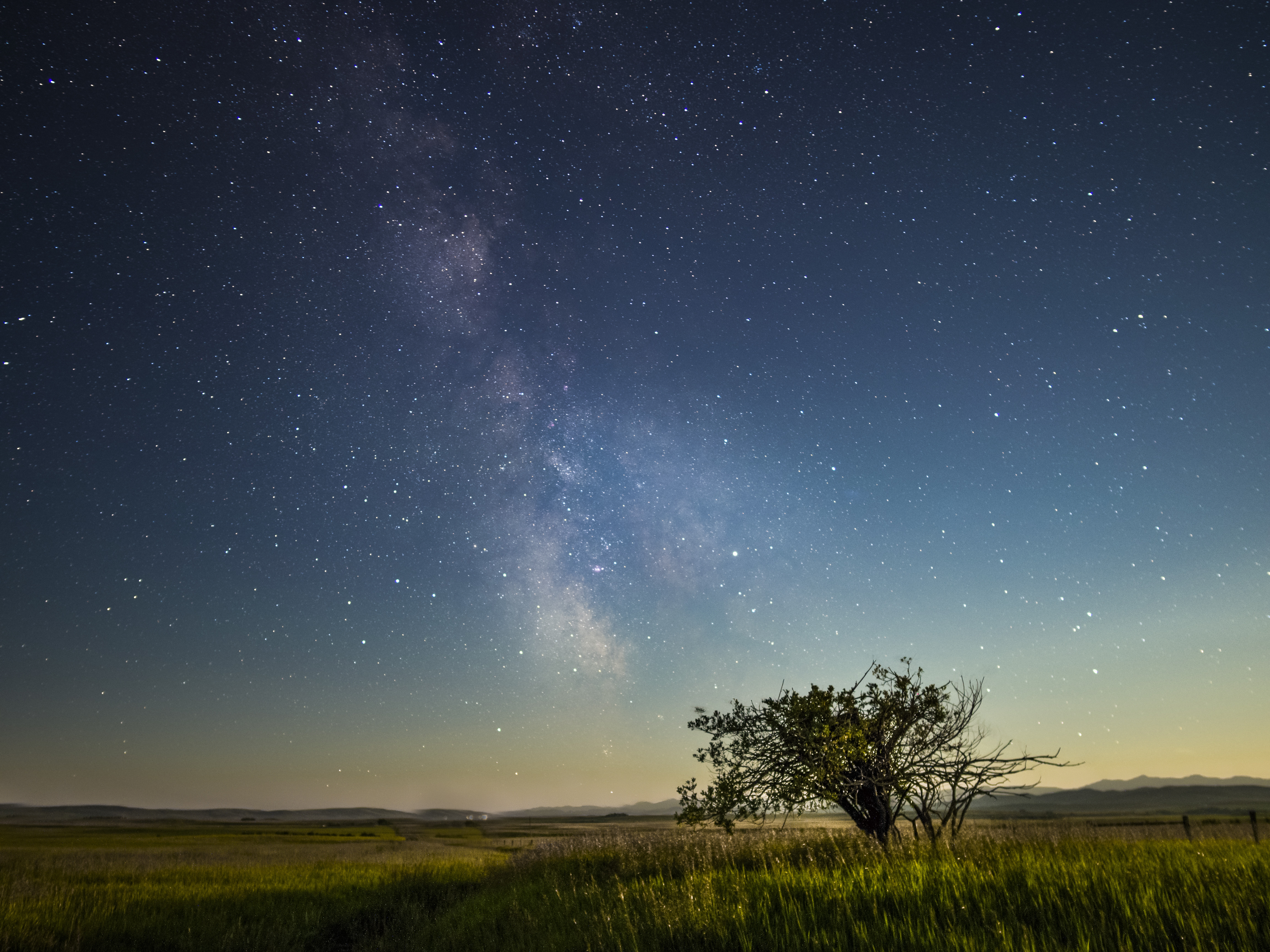 The Milky Way galactic center from a field outside of Longview, Alberta, Canada