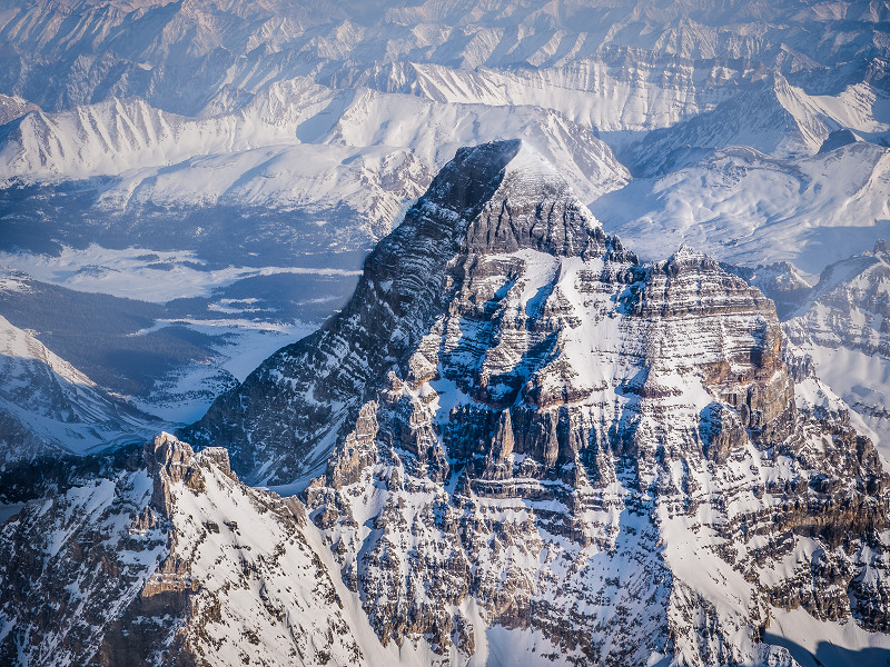 A shot of Mount Assiniboine in the Canadian Rockies from a Cessna 182 Skylane