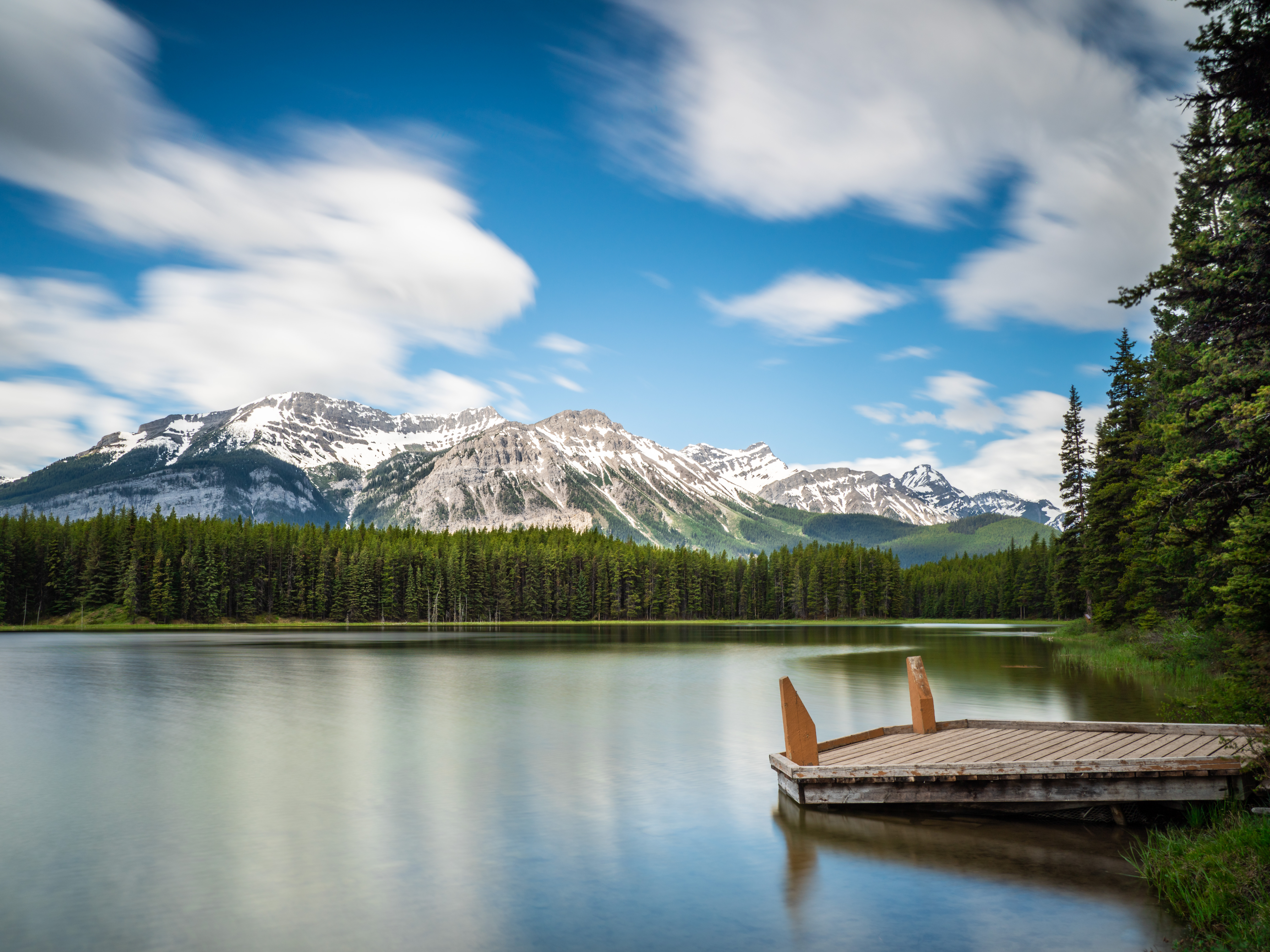A shot of Marl Lake and Gap Mountain in the background in Kananaskis Country, Alberta, Canada