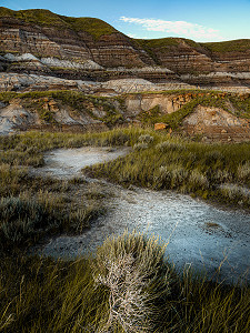 Dried mud leads you in to the cliffs of the valley near Drumheller, Alberta, Canada