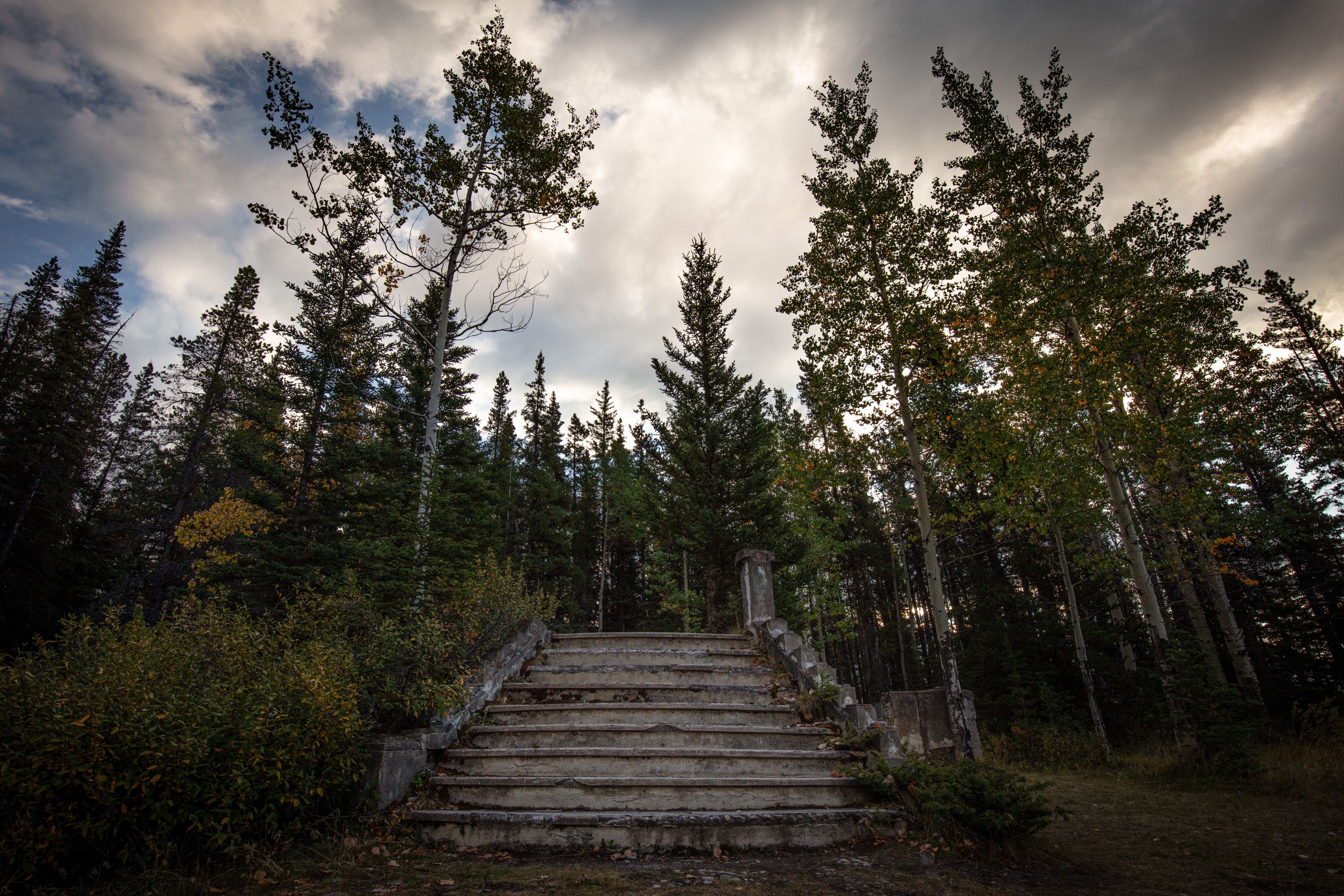The stairs to the old Holy Trinity Church in Bankhead, Alberta, Canada before the church was cut in half in 1922 and taken to Calgary where it remained until 1962