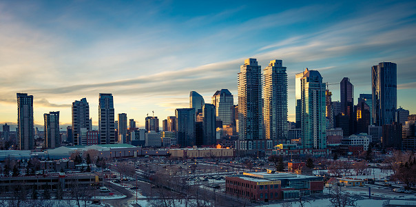 Calgary, Alberta, Canada as the sun starts to go down