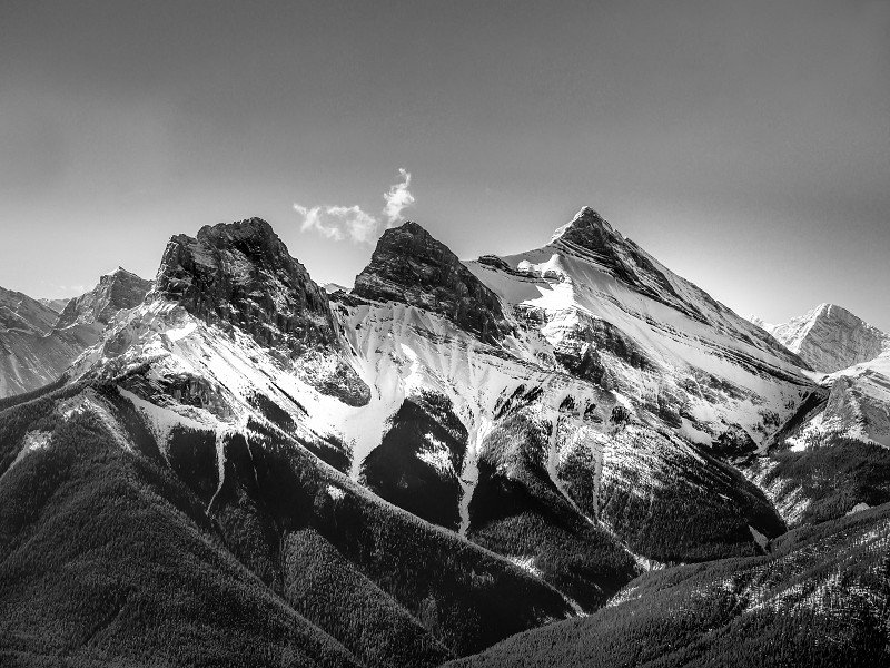 A shot of the Three Sisters in Canmore, Alberta, Canada from a Cessna 172