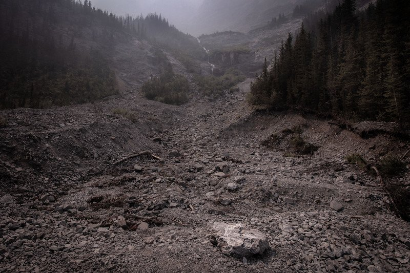 Old Goat Glacier near Canmore, Alberta, Canada as the smoke from the BC wildfires sets in (Summer 2021)